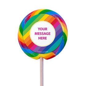 "Rainbow Birthday Personalized 3"" Lollipops (12 Pack)"