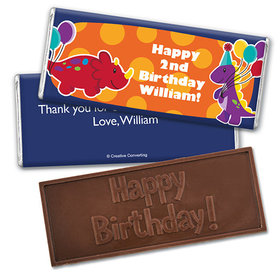 Personalized Birthday Dinosaurs & Balloons Embossed Happy Birthday Chocolate Bar