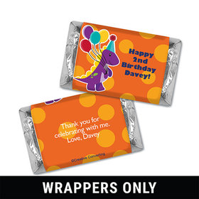 Personalized Birthday Dinosaurs & Balloons Miniatures Wrappers