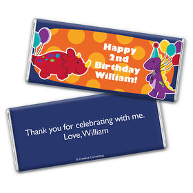Personalized Birthday Dinosaurs & Balloons Chocolate Bar & Wrapper