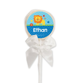 Birthday Personalized White Lollipop Lion 1st Birthday (24 Pack)