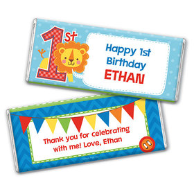 Personalized Birthday Lion Chocolate Bar & Wrapper with Gold Foil