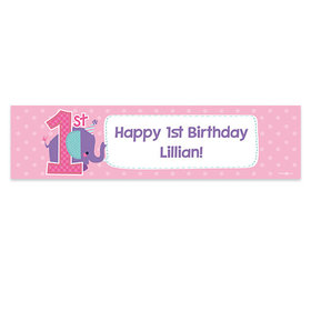 Personalized Purple Elephant Birthday Banner