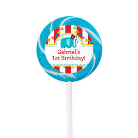 Birthday Personalized Small Green Swirly Pop Circus 1st Birthday (24 Pack)