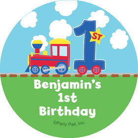 "All Aboard First Birthday Personalized 2"" Stickers (20 Stickers)"