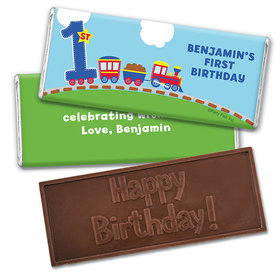 Personalized First Birthday Train Embossed Happy Birthday Chocolate Bar