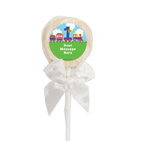 Birthday Personalized White Lollipop Train 1st Birthday (24 Pack)