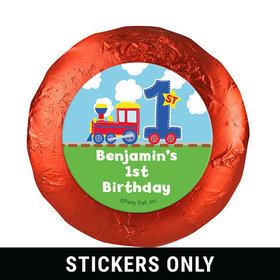 """Personalized First Birthday Train 1.25"""" Stickers (48 Stickers)"""