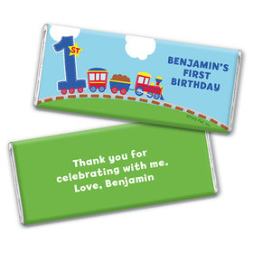 Personalized First Birthday Train Chocolate Bar & Wrapper