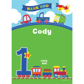 All Aboard First Birthday Personalized Thank You Note
