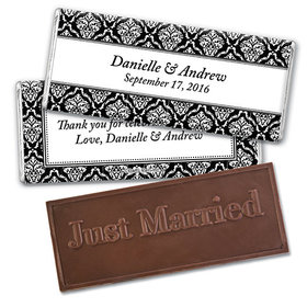Personalized Wedding Demask Embossed Just Married Chocolate Bar