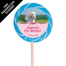 "Birthday Personalized 3"" Swirly Pop Heart My Horse (12 Pack)"