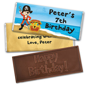 Personalized Birthday Pirate Party Embossed Happy Birthday Chocolate Bar