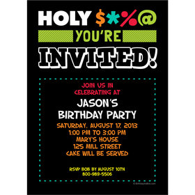 Holy Bleep Milestone Personalized Invitation