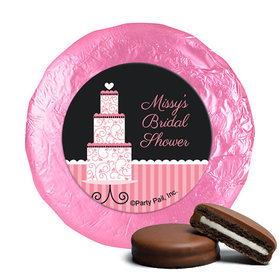 Personalized Bridal Shower Pink Cake Milk Chocolate Covered Oreos (24 Pack)