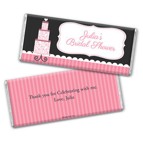 Personalized Bridal Shower Pink Cake Chocolate Bar Wrappers