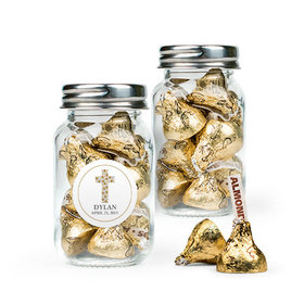 Personalized Boy Confirmation Favor Assembled Mini Mason Jar Filled with Hershey's Kisses