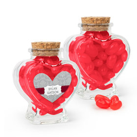 Personalized Boy Confirmation Favor Assembled Heart Jar Filled with Just Candy Jelly Beans