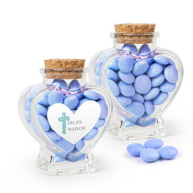 Personalized Boy Confirmation Favor Assembled Heart Jar Filled with Just Candy Milk Chocolate Minis