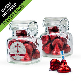 Personalized Boy Confirmation Favor Assembled Swing Top Square Jar Filled with Hershey's Kisses