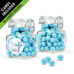 Personalized Boy Confirmation Favor Assembled Swing Top Square Jar Filled with Sixlets