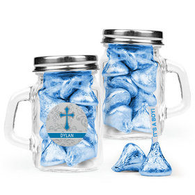 Personalized Boy Confirmation Favor Assembled Mini Mason Mug Filled with Hershey's Kisses