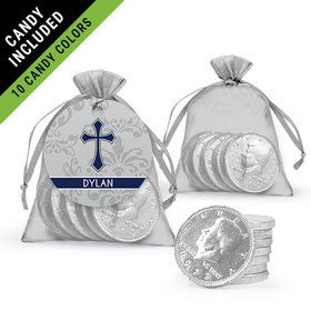 Personalized Boy Confirmation Favor Assembled Gift tag, Organza Bag Filled with Milk Chocolate Coins