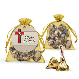 Personalized Boy Confirmation Favor Assembled Organza Bag Filled with Hershey's Kisses