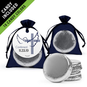 Personalized Boy Confirmation Favor Assembled Organza Bag Hang tag Filled with Chocolate Covered Oreo Cookie