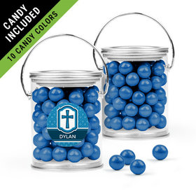 Personalized Boy Confirmation Favor Assembled Paint Can Filled with Sixlets