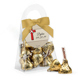 Personalized Boy Confirmation Favor Assembled Purse Filled with Hershey's Kisses