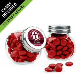 Personalized Boy Confirmation Favor Assembled Mini Side Jar Filled with Just Candy Milk Chocolate Minis