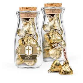 Personalized Boy Confirmation Favor Assembled Glass Bottle with Cork Top Filled with Hershey's Kisses