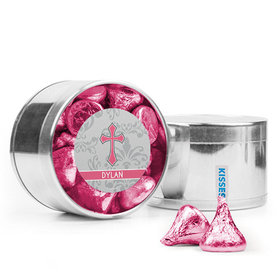 Personalized Girl Confirmation Favor Assembled Medium Round Plastic Tin Filled with Hershey's Kisses