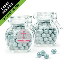 Personalized Girl Confirmation Favor Assembled Swing Top Jar Filled with Sixlets