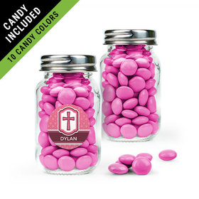 Personalized Girl Confirmation Favor Assembled Mini Mason Jar Filled with Just Candy Milk Chocolate Minis