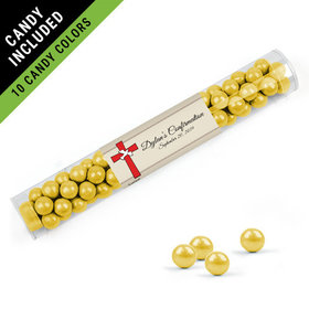 Personalized Girl Confirmation Favor Assembled Clear Tube Filled with Sixlets