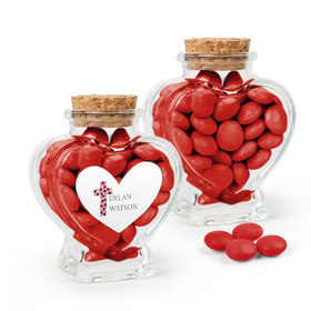 Personalized Girl Confirmation Favor Assembled Heart Jar Filled with Just Candy Milk Chocolate Minis