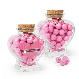 Personalized Girl Confirmation Favor Assembled Heart Jar Filled with Sixlets