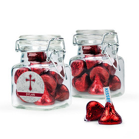 Personalized Girl Confirmation Favor Assembled Swing Top Square Jar Filled with Hershey's Kisses