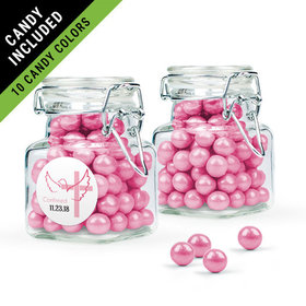 Personalized Girl Confirmation Favor Assembled Swing Top Square Jar Filled with Sixlets