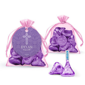 Personalized Girl Confirmation Favor Assembled Organza Bag Filled with Hershey's Kisses