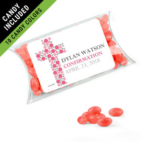 Personalized Girl Confirmation Favor Assembled Pillow Box Filled with Just Candy Jelly Beans