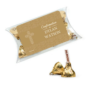 Personalized Girl Confirmation Favor Assembled Pillow Box Filled with Hershey's Kisses