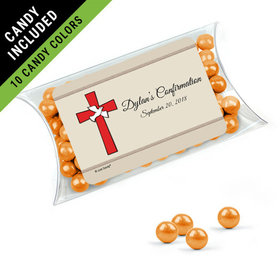 Personalized Girl Confirmation Favor Assembled Pillow Box Filled with Sixlets