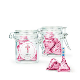 Personalized Girl Confirmation Favor Assembled Swing Top Round Jar Filled with Hershey's Kisses
