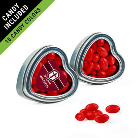 Personalized Girl Confirmation Favor Assembled Heart Tin Filled with Just Candy Jelly Beans