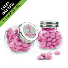 Personalized Girl Confirmation Favor Assembled Mini Side Jar Filled with Just Candy Milk Chocolate Minis