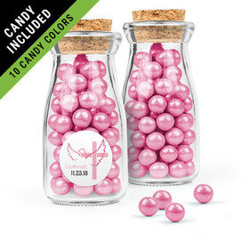Personalized Girl Confirmation Favor Assembled Glass Bottle with Cork Top Filled with Sixlets