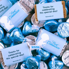 First Communion Boy in Prayer Mix Hershey's Miniatures, Kisses and JC Peanut Butter Cups